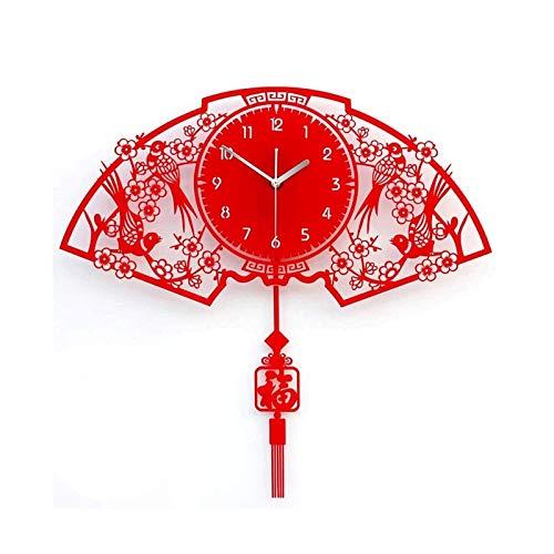 ZBJJ Bendición en Forma de Ventilador Rojo Reloj de Pared de la Pared del Estilo Chino Mute MUJO Moderno Creativa Reloj DE LA Personalidad Cuarzo Reloj de Pared Reloj de Pared Batería