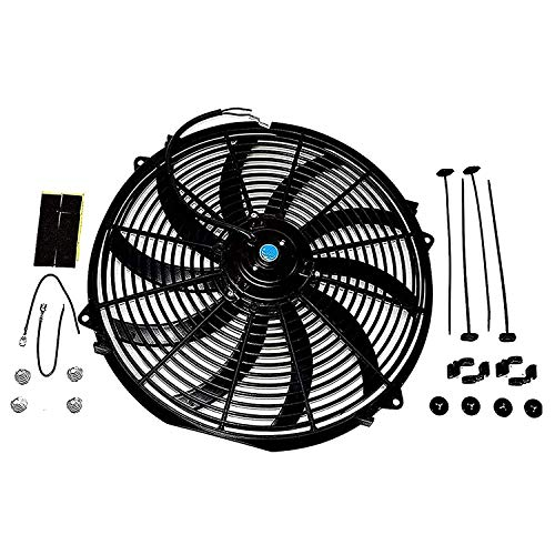 A-Team Performance 160061 16' Universal High Performance Heavy Duty 12 Volts Black Radiator Electric Wide Curved Cooling Fan Assembly Kit 8 Blade Fan 3000 CFM
