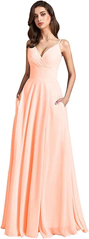 TZBride Women's New popularity V-Neck Bridesmaid Dress Ruched Spaghetti S Store Strap