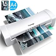 Toyuugo Laminator Machine, Portable A4 Thermal Laminating Machine with Hot and Cold Settings, ABS Button Fast Warm-up and No Bubbles for Home Office School (Including 15 Pouches)