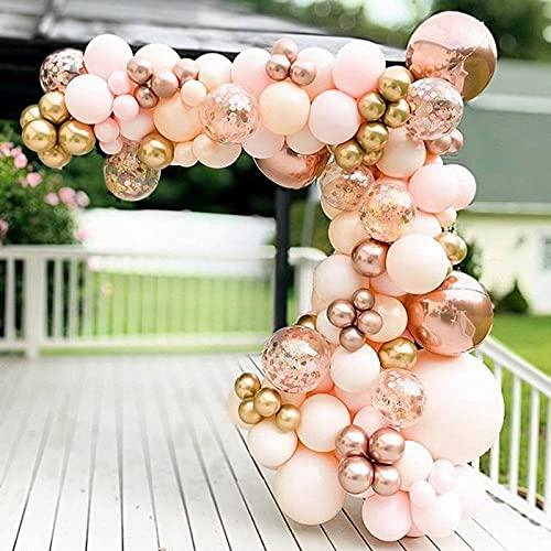 Set di 96 palloncini in oro rosa, con palloncini in oro rosa 4D, palloncini in lattice metallizzato, per ragazze e donne, feste di compleanno, baby shower, matrimoni, addio al nubilato, anniversario
