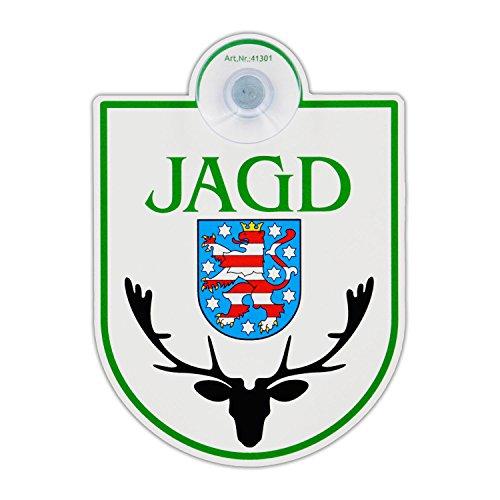Saugnapfschild Schild Jagd - Thüringen Acrylschild 3mm mit Saugnapf 30mm, ca. 90x125 mm für Scheibeninnenbefestigung