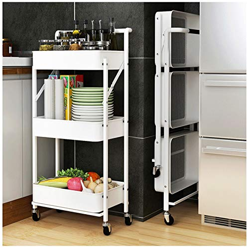 HUOJIANTOU Plegable Carrito de Servicio 3 Alturas Rodante estantera con Ruedas con 2 Frenos Carro de Utilidad para Cocina Vestbulo Dormitorio o Oficina (Color : White)