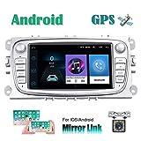 Android Car Radio para Ford Focus GPS CAMECHO Pantalla táctil capacitiva de 7 Pulgadas estéreo para automóvil WiFi Bluetooth FM Dual USB para Ford Mondeo C-MAX S-MAX Galaxy II Kuga (Plata)