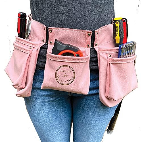 ReplaceMint Werkzeuggürtel Damen - für Heimwerker & Heimwerkerprojekte 11 Taschen 2 Metall Hammerschlaufen Heavy Duty Einstellbarer Hellrosa