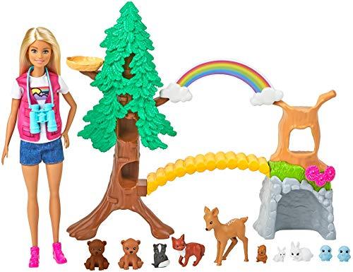 Barbie Exploradora de la Naturaleza Muñeca rubia con moda de montaña y set de juego con animales de juguete y accesorios…