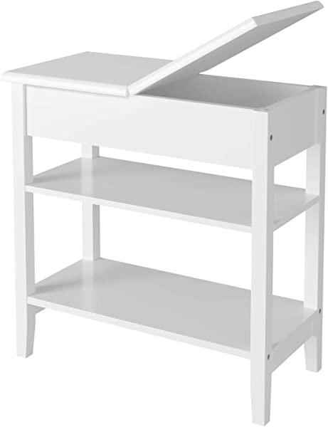 HOMECHO Modern End Side Table With Flip Top Storage Shelf Wooden Sofa Chair Bedside Couch Console Accent Tables Night Stand For Living Room Bedroom White HMC MD 020