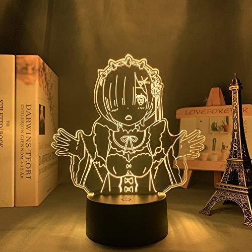Lámpara de noche 3D para niños con diseño de anime Re Zero Rem Starting Life 3D lámpara Rem Ram LED luz nocturna para niños dormitorio juguete Navidad cumpleaños lámpara mesa mesa 7 colores tocando