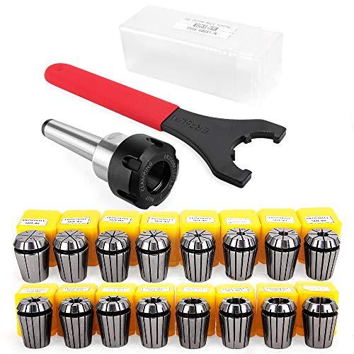 ER25 Spannzange Set Bohrfutter mit MT2 ER25 M10 Motor Verlängerungsstange, Yofuly 16 Stück ER25 Federzange Spannfutter von 1 mm bis 16 mm für CNC-Gravurmaschine oder Fräsdrehmaschine Werkzeug