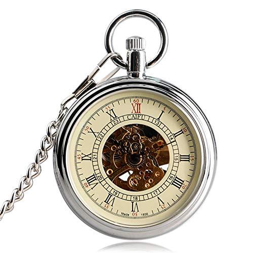 SUZHENA Reloj de Bolsillo Fashion Sivler Open Face Skeleton Gear Dial Reloj de Bolsillo Mecánico automático Viento automático Fob, 1 Piezas, no Resistente al Agua