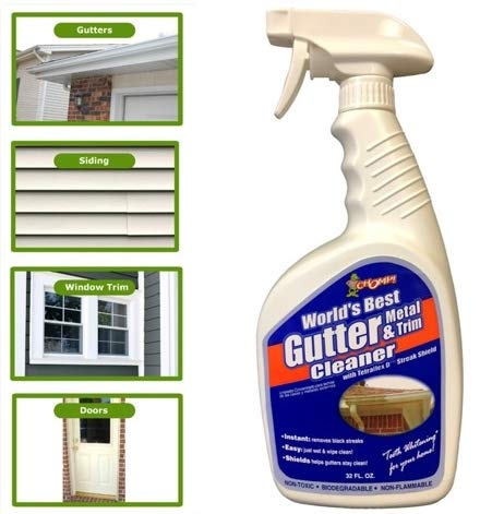 Chomp World's Best Gutter Cleaner: Ultimate Gutter Cleaning Solution for All Types of Rain Gutters, Siding and Metal Trim - Instantly Clean Black Streaks, Mold, Mildew, Algae, Dirt and More - 32 ounce