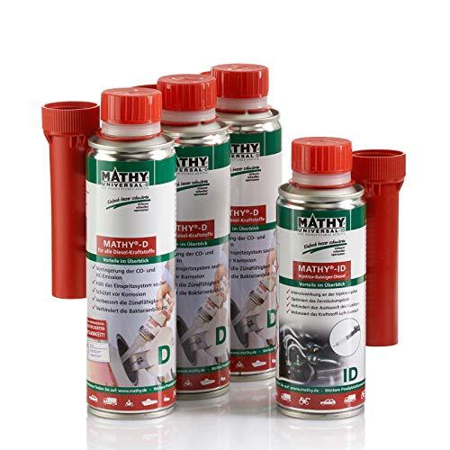 MATHY Diesel-Kur - Reinigungsset Diesel Brennraum Reiniger + Injektor Reiniger, 3 x 250 ml + 200 ml - Diesel Additiv - Kraftstoffadditiv