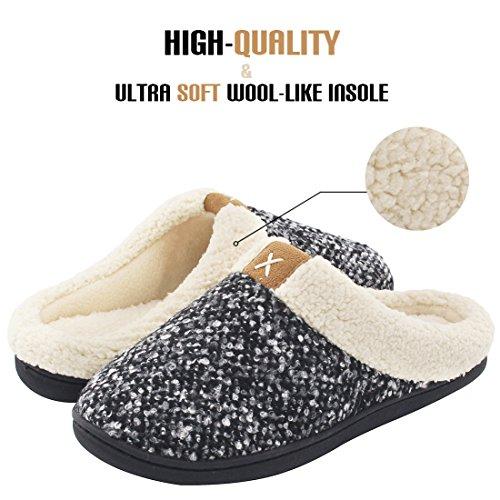 Women's Comfort Memory Foam Slippers Wool-Like Plush Fleece Lined House Shoes w/Indoor, Outdoor Anti-Skid Rubber Sole (Medium / 7-8 B(M) US, Black)