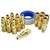 GS Tools Air Plug Fittings and Teflon Tape, 1/4 Inch NPT Threads and Body Size, Male Industrial Type M, Air Compressor Accessories Fittings, 16 Pieces