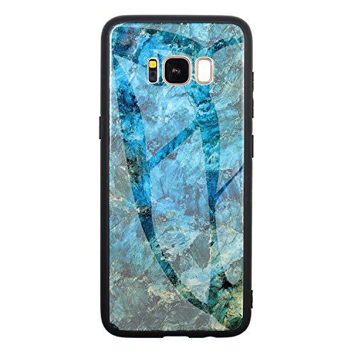 kkkie Cover Originale Compatibile con Samsung Galaxy S8 Clear Trasparente Marmo Vetro Temperato Rigida Back Cover Custodia Protettiva Silicone Nero Bumper Antiurto Case