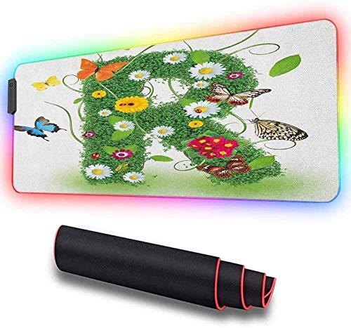 Großes Mauspad, Großbuchstabe R mit Flora und Fauna, Hochleistungs-Mauspad, optimiert für Spielesensoren 900x400x30mm