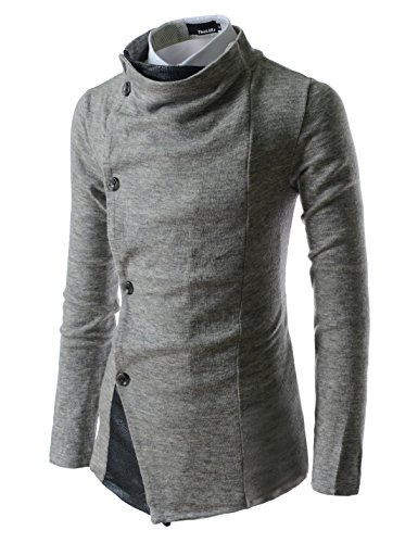 (GD93) Slim Stylish Unbalanced Metallic Leather Point Knitted Cardigan Sweaters Gray US S(Tag Size M)