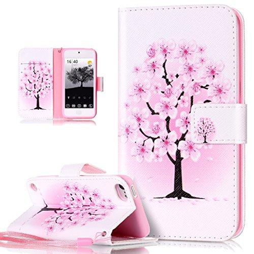 Funda para iPod 6G, iPod Touch 5G, de piel, de ikasus® con pintura multicolor, tipo flip, slim fit, cierre magnético, de silicona suave, con función atril y tarjetero  Weiße Rosa Kirschblüten
