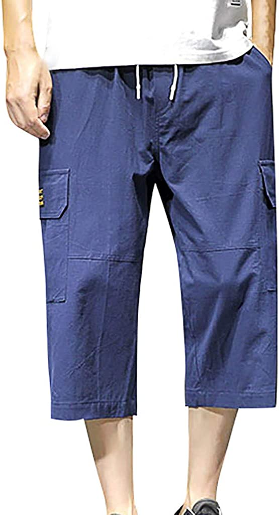 Indefinitely F_Gotal Now free shipping Men's Casual Elastic Linen Cotton Calf-Length Pant