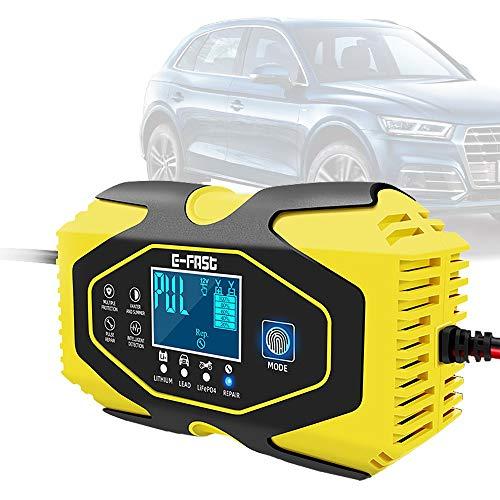 HHHKKK Cargador de Batería con Pantalla LCD 12V/24V con Múltiples Protecciones Mantenimiento Automático Inteligente para Coche Moto ATV RV Barco