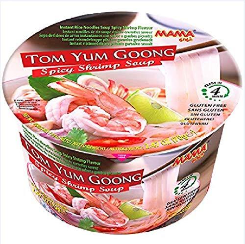 MAMA Instant-Bowl-Reisnudeln Tom Yum Goong mit Shrimpsgeschmack – Instantnudelsuppe orientalischer Art – Authentisch thailändisch kochen – 6 x 70 g
