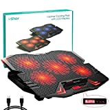Laptop Cooling Pad, Laptop Cooler Cooling Pad Stand for up to 15.6 inch Laptop with Metal Mesh Surface, 5 Fan 2500RPM Adjustable Strong Wind LED Light, Free Height, 2 USB Port, Red Fan