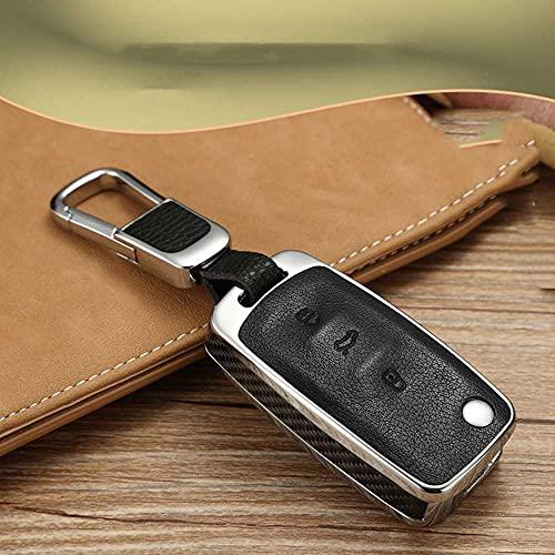 SXHNNYJ Soporte de Carcasa de Madera/Fibra de Carbono para Llave, para VW Jetta Golf Bora Polo Passat para Skoda Octavia A5 Fabia Seat Ibiza Leon