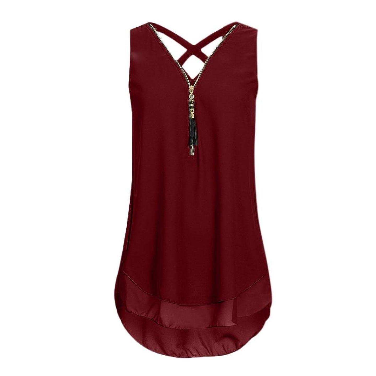 CUCUHAM Women Loose Sleeveless Cross Back Hem Layed Zipper V-Neck T Shirts Tops