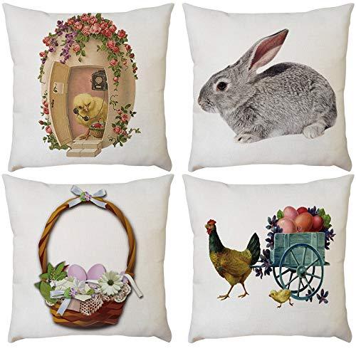 4 fundas de almohada cuadradas de Pascua para sofá, funda de cojín para silla, sofá, dormitorio, fundas de almohada decorativas para sillón, cama, coche, oficina, salón, regalo, 45,7 x 45,7 cm