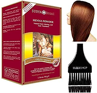Surya Brasil All Natural HENNA Hair Color POWDER Dye, Coloring & Hair Treatment (with Brush) Brazil (GOLDEN BROWN)