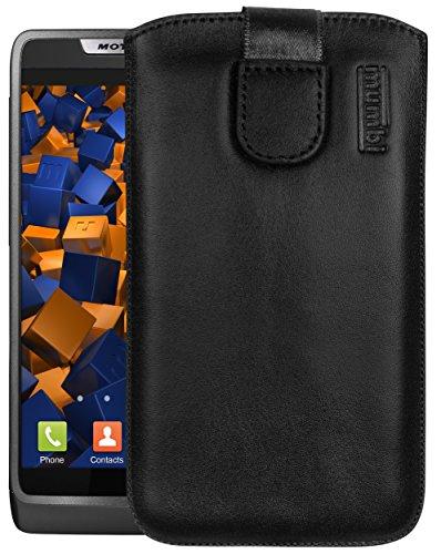 mumbi Echt Ledertasche kompatibel mit Motorola RAZR i Hülle Leder Tasche Hülle Wallet, schwarz