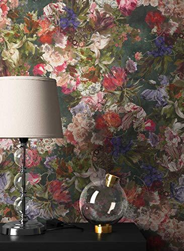 NEWROOM Blumentapete Tapete bunt Blumen Blätter Floral Vliestapete Vlies moderne Design Optik Blumentapete Modern inkl. Tapezier Ratgeber