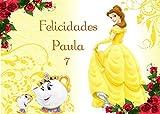 OBLEA de LA Bella Y LA Bestia Personalizada con Nombre y Edad para Pastel o Tarta, Especial para cumpleaños, Medida Rectangular de 28x20cm
