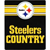 NFL Pittsburgh Steelers Country Fleece Throw Blanket, 50-inch by 60-inch, Black