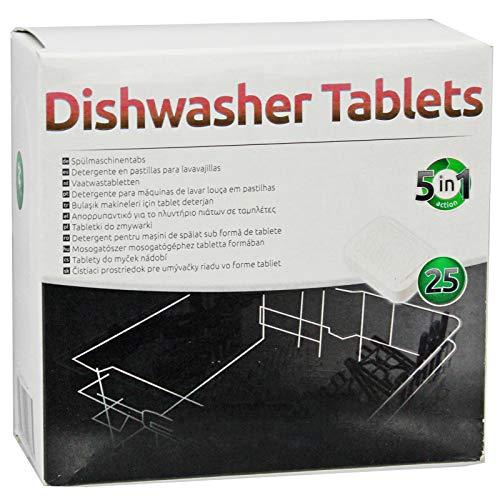 SPARES2GO 5 in 1 azione Disincrostante calcare Pastiglie per lavastoviglie (confezione da 25)