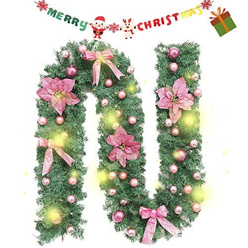 Enhome Weihnachtsgirlande mit Beleuchtung, 2.7 Meter Tannengirlande Blume Bow Obst Weihnachtsdeko Weihnachtstürdekor 8 Modus Lichterkette für Innen und Außen Verwendbar (2.7M /100 Led,Rosa)