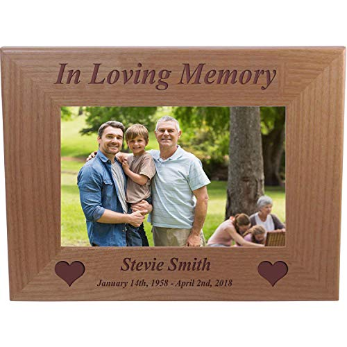 CustomGiftsNow in Loving Memory Memorial - Engraved Alder Wood Picture Frame - Add Name and Dates (5x7-inch Horizontal)