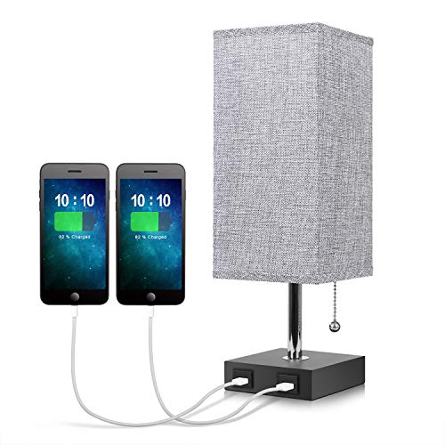 USB Bedside Table Lamp,Seealle Grey Modern Table & Desk Lamp with 2 USB Fast Charging Port, Solid Wood Unique Lampshade,Convenient Pull Chain for Bedroom, Living Room or Office
