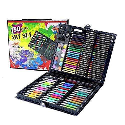 ZXIAQI 150 pcs Malset Zeichenset Buntstifte Set für Kinderinkl Wachsmalstifte, Wasserfarben, Farbstifte, Aquarellstifte, Radierer Geburtstag Geschenk