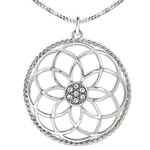 Clever Schmuck Juego de colgante de plata de ley 925 con forma de mandala de 40 mm de diámetro, flor de la vida con muchas circonitas en el centro y borde trenzado y cadena de eslabones de 50 cm
