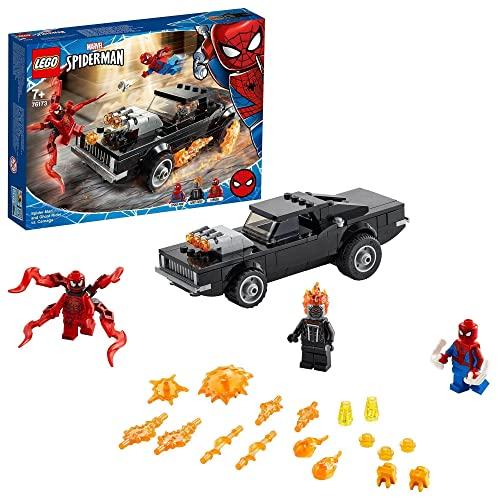 LEGO 76173 Spider-Man y el Motorista Fantasma vs. Carnage, Set de Superhéroes Marvel Juguete con Coche de Construcción