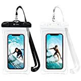 F-color Waterproof Phone Pouch, 2 Pack Transparent PVC Waterproof Cell Phone Case Dry Bag for Swimming, Boating, Fishing, Skiing, Rafting, Compatible with iPhone X 8 7 6S, Galaxy S6 S7 and More