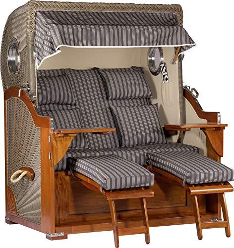 foolonli Strandkorb Luxus 2,5 Sitzer aufgebaut Grau mit Bullauge Mahagoni Holz XXL