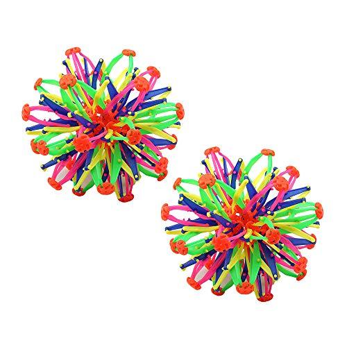 Amasawa 2 Pièces Balle Extensible,Boule Magique Rétractable et Changeable pour Garçons et Filles,Ballon Coloré Rétractable