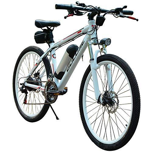LZMXMYS Bicicletta elettrica, Elettrico Mountain Bike (36V / 250W) Staccabile Batteria 26 Pollici Bicicletta Strada 21 velocità con Frontale LED e la velocità di Freno a Disco Posteriore Fino a 25 km