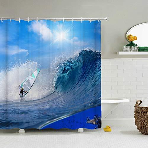 Fmiljiaty Artwork Print Sea Surf Skateboard Duschvorhang 3D Bedruckte Badvorhänge Badetuch Badvorhänge -180 * 180CM