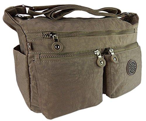 Bag street hochwertige Damenhandtasche aus Crinkle Nylon Schultertasche Sportliche Umhängetasche (Stone)