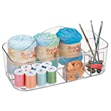 mDesign Plastic Portable Craft Storage Organizer Caddy Tote, Divided Basket Bin with Handle for Craft, Sewing, Art Supplies - Holds Paint Brushes, Colored Pencils, Stickers, Glue, Yarn - Large - Clear