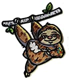 Pot Smoking Pals Lazy Hanging Sloth - Iron on Embroidered Patch Applique