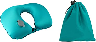 UgyDuky Travel Peacock Blue U-Shaped Neck Massage Pillow Inflatable U-Shaped Massager for Neck Pain Home Office Car Airplane Train Camping Hiking Office Nap Adjustable Neck Pillow